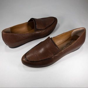 NAKED FEET Oculus Brown Leather Reptile Loafers